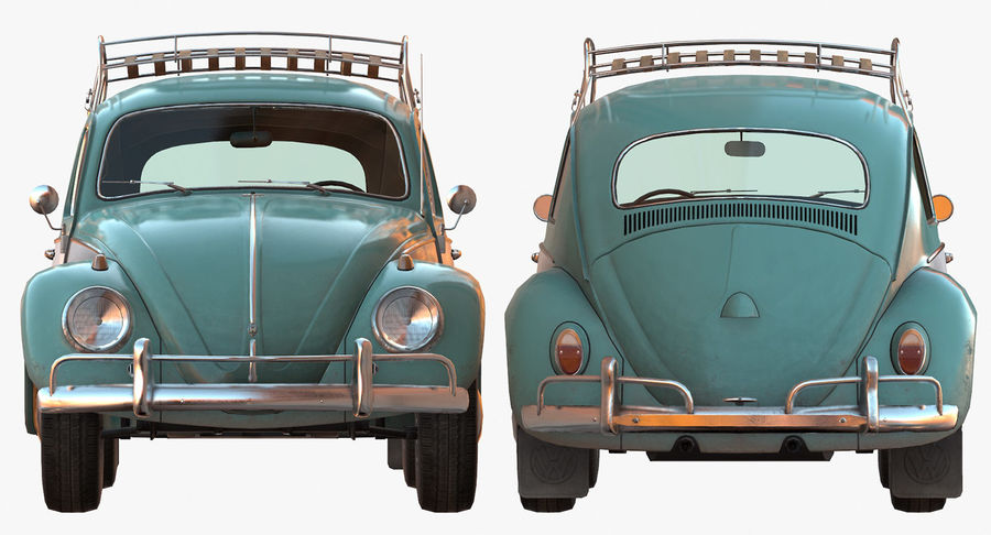 Volkswagen Beetle Classic Low Poly royalty-free 3d model - Preview no. 8