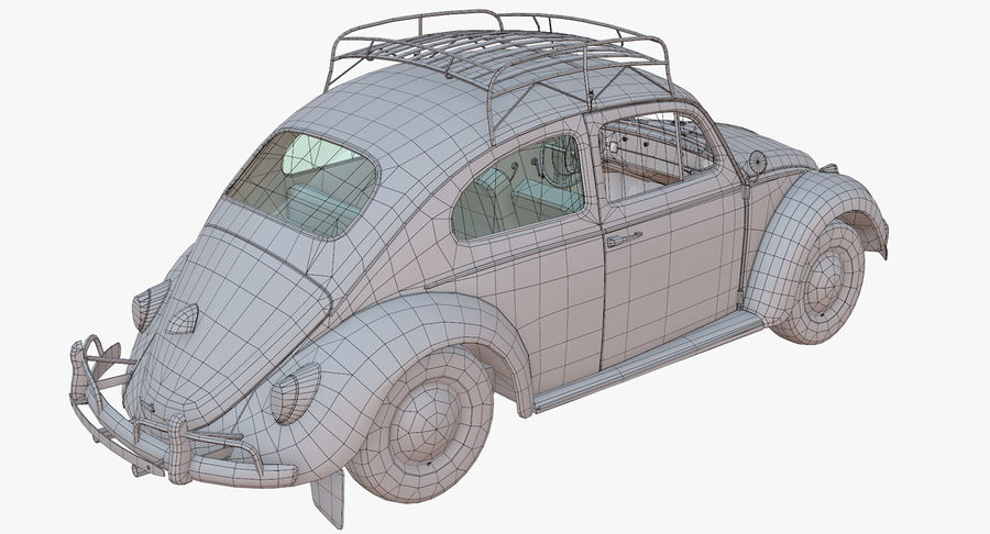 Volkswagen Beetle Classic Low Poly royalty-free 3d model - Preview no. 15