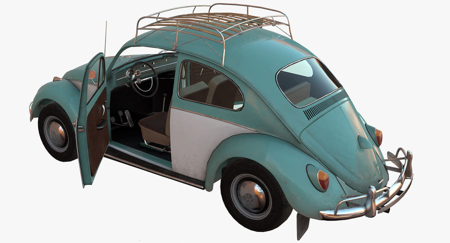 Volkswagen Beetle Classic Low Poly royalty-free 3d model - Preview no. 10