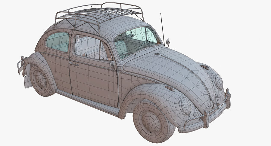 Volkswagen Beetle Classic Low Poly royalty-free 3d model - Preview no. 14