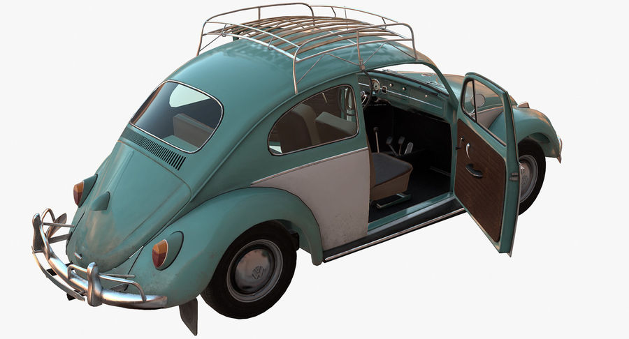 Volkswagen Beetle Classic Low Poly royalty-free 3d model - Preview no. 9
