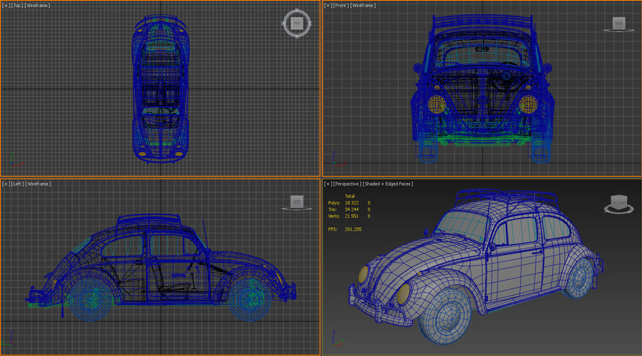 Volkswagen Beetle Classic Low Poly royalty-free 3d model - Preview no. 24