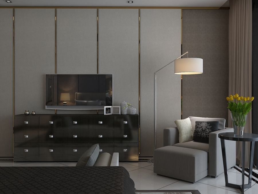 Bedroom 3 royalty-free 3d model - Preview no. 4