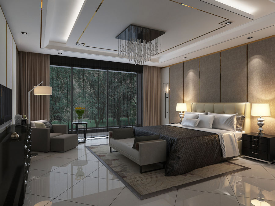 Bedroom 3 royalty-free 3d model - Preview no. 1
