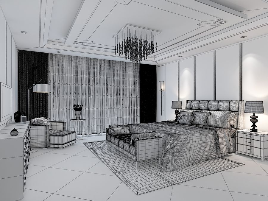 Bedroom 3 royalty-free 3d model - Preview no. 6