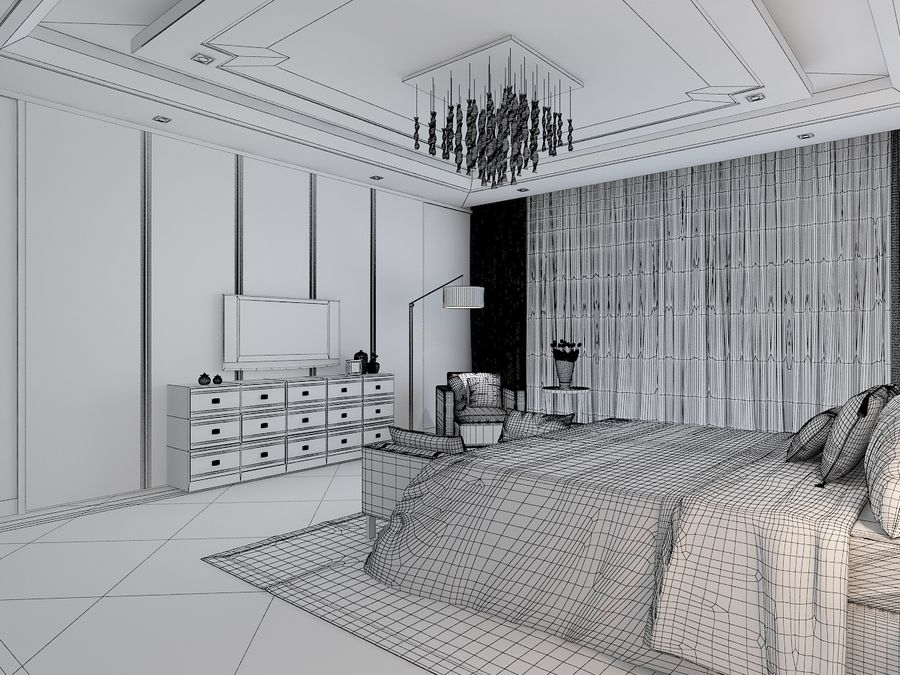 Bedroom 3 royalty-free 3d model - Preview no. 7
