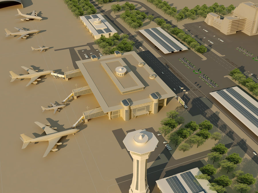 Аэропорт (1) royalty-free 3d model - Preview no. 4