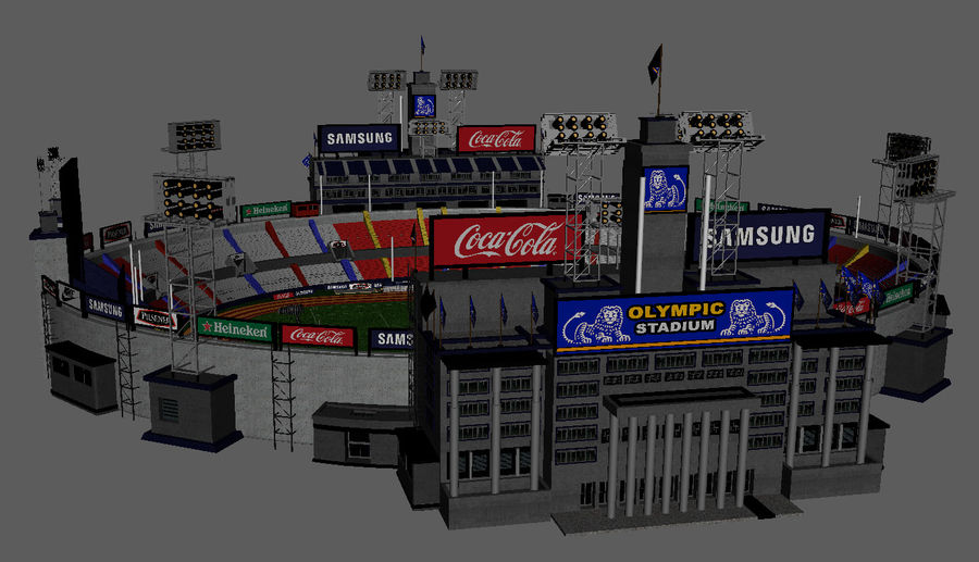 Stade Olympique royalty-free 3d model - Preview no. 7