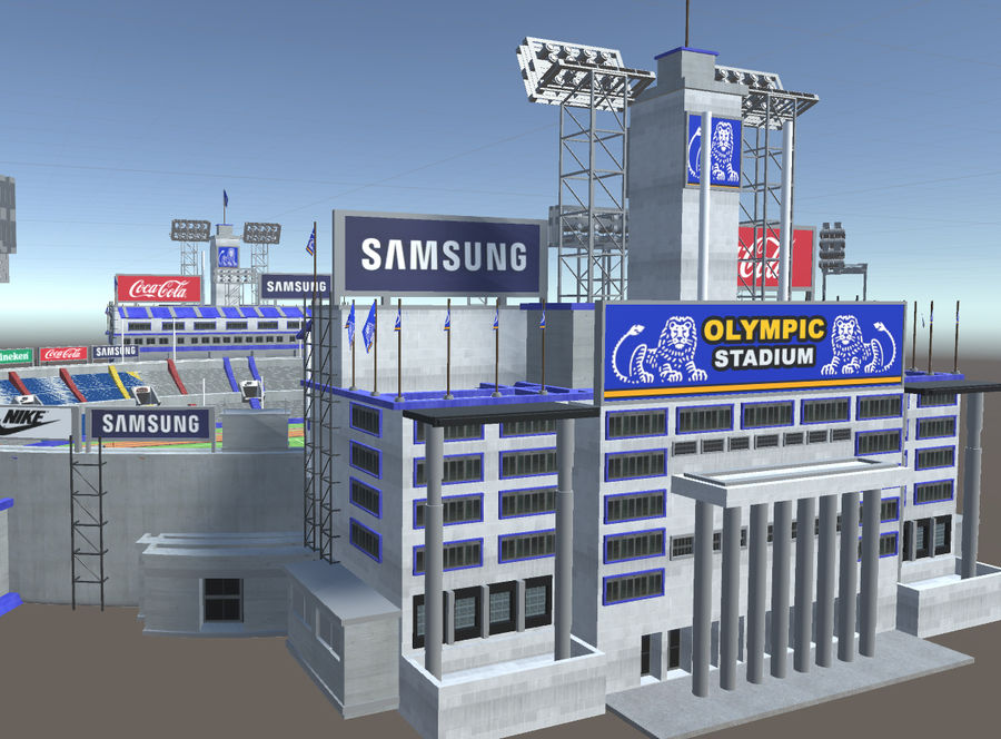 Stade Olympique royalty-free 3d model - Preview no. 12
