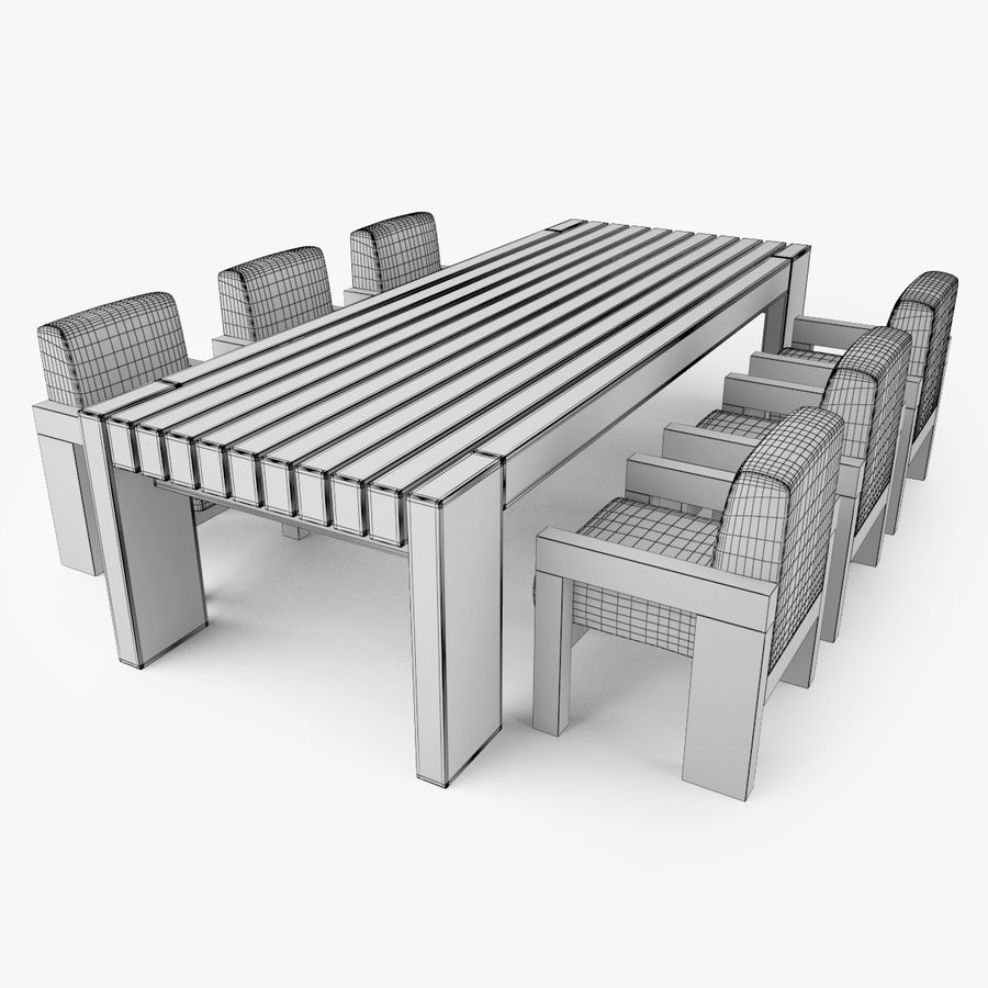 Restoration Hardware Bardenas Dining Table & Armchair royalty-free 3d model - Preview no. 13