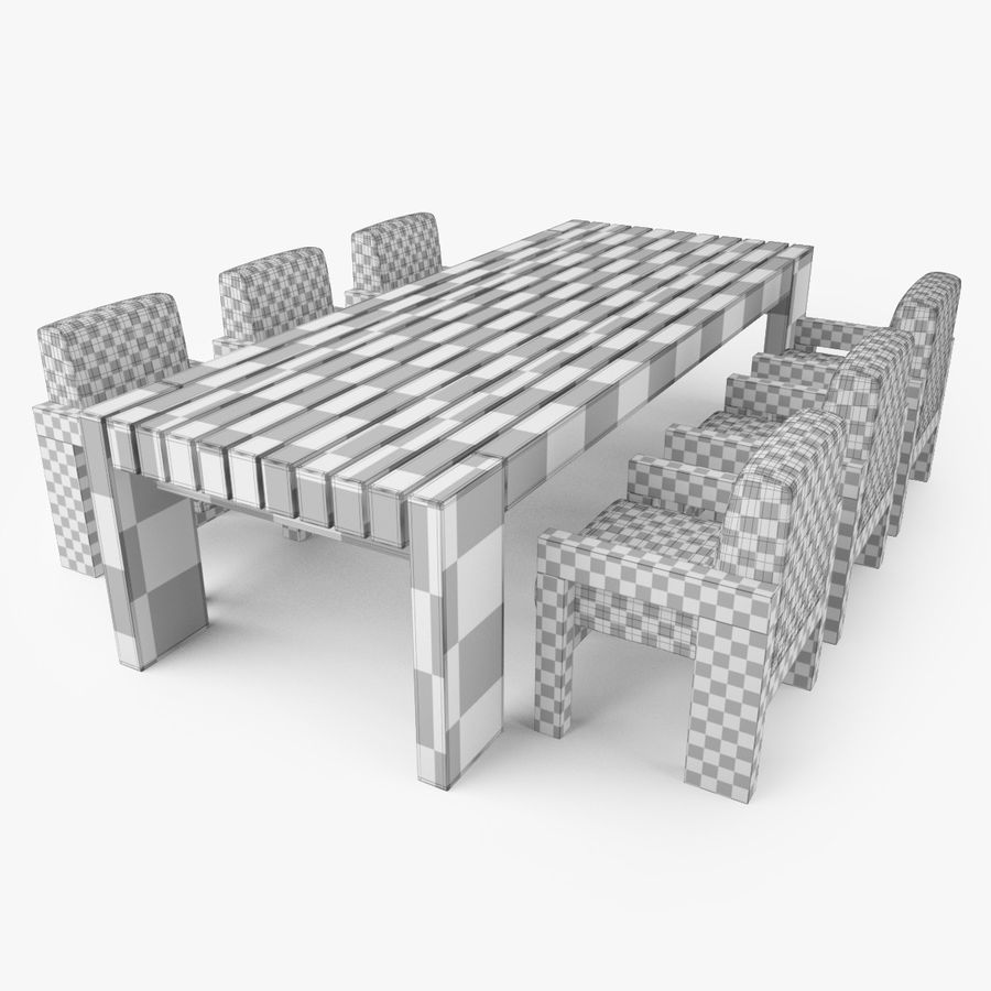 Restoration Hardware Bardenas Dining Table & Armchair royalty-free 3d model - Preview no. 9