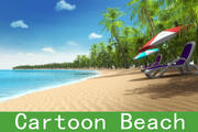 Cartoon beach 3d model