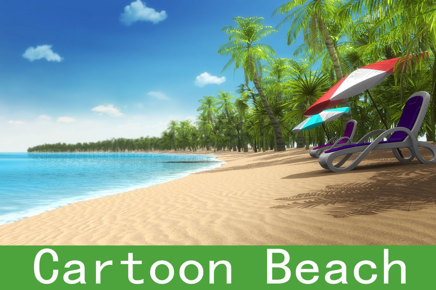 Cartoon beach royalty-free 3d model - Preview no. 1