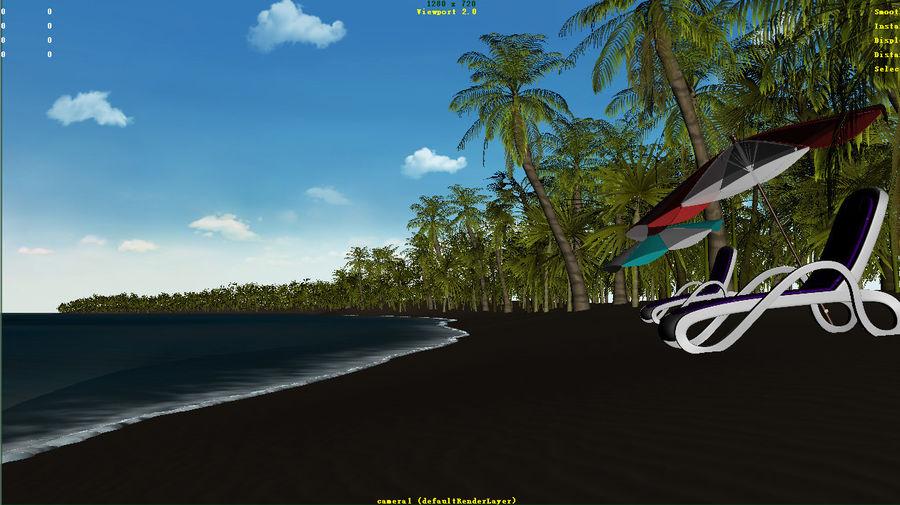 Cartoon beach royalty-free 3d model - Preview no. 2