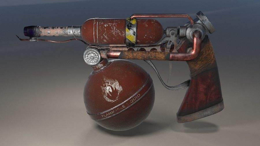 FlameThrower royalty-free 3d model - Preview no. 6