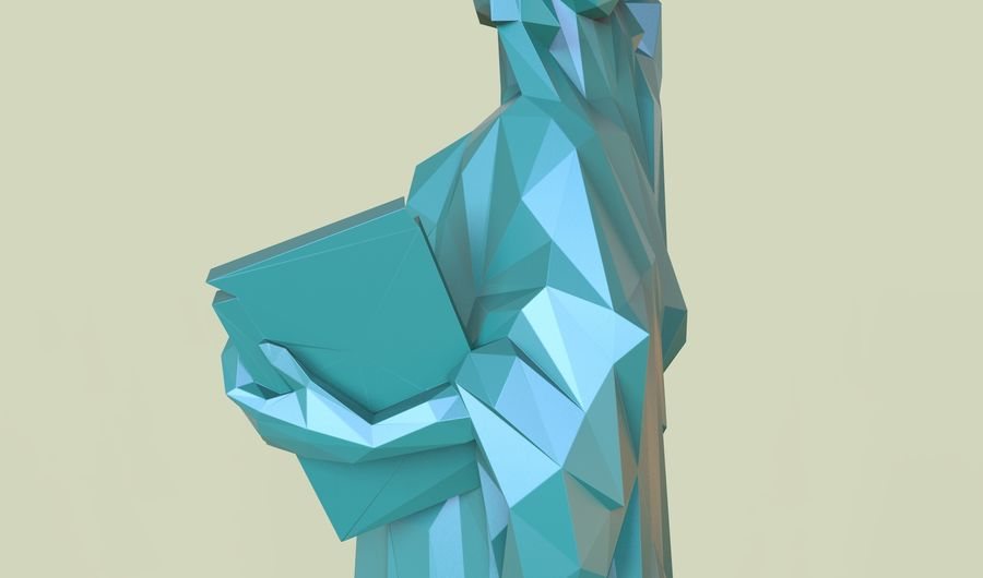 自由の女神LOW POLY royalty-free 3d model - Preview no. 8