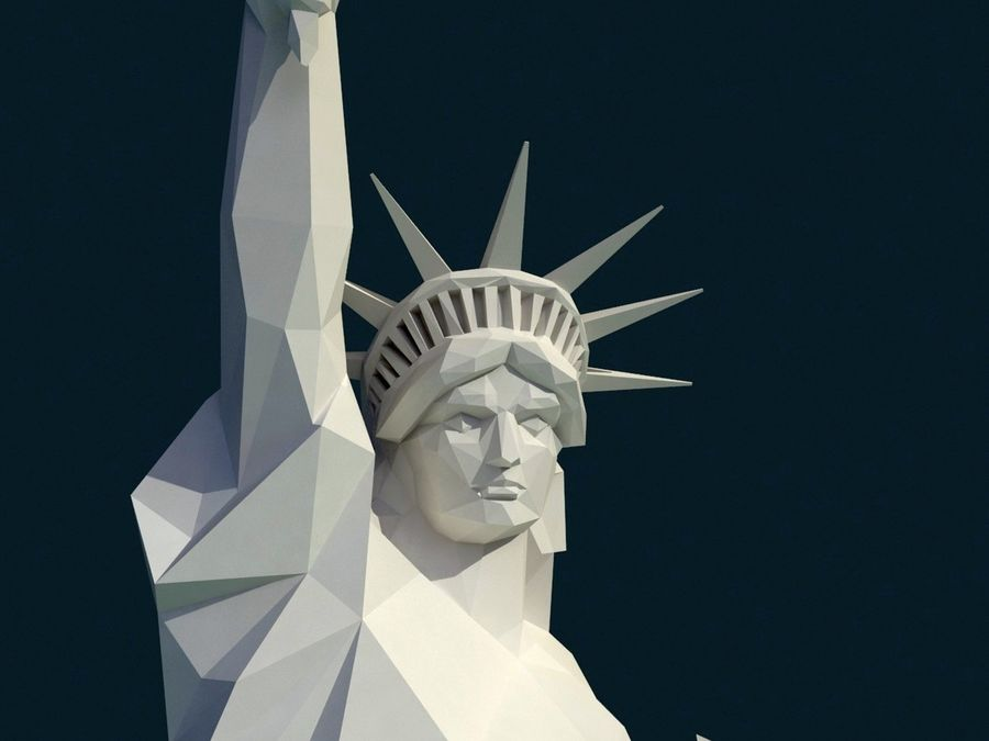 Statue of Liberty LOW POLY royalty-free 3d model - Preview no. 27