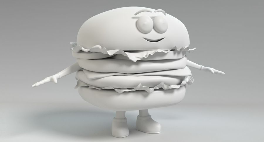 Caráter de hambúrguer royalty-free 3d model - Preview no. 11