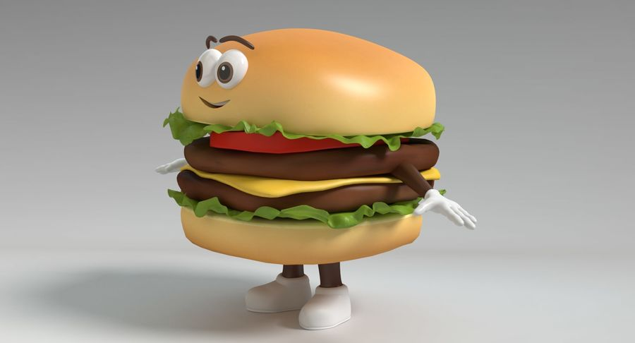 Hamburger Karaktär royalty-free 3d model - Preview no. 9