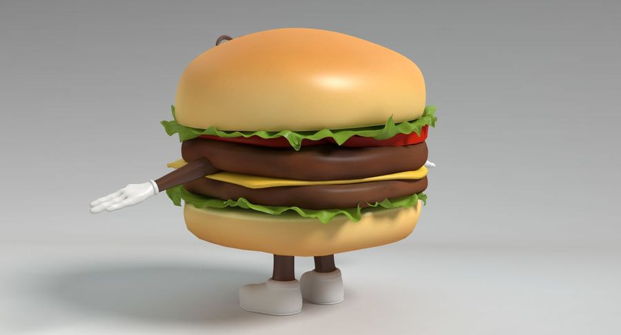 Hamburger Karaktär royalty-free 3d model - Preview no. 7