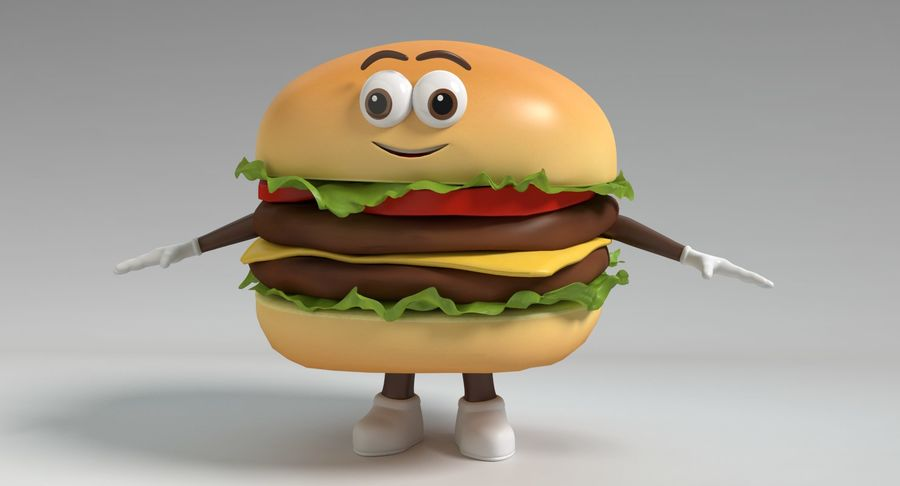 Hamburger Karaktär royalty-free 3d model - Preview no. 10
