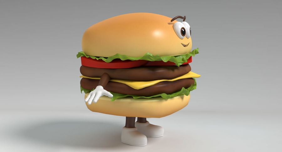Hamburger Karaktär royalty-free 3d model - Preview no. 4