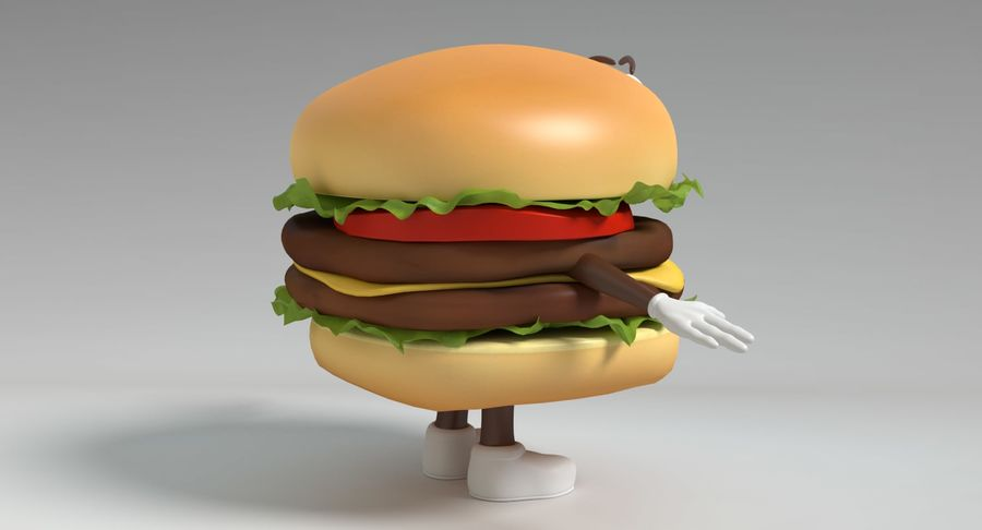 Hamburger Karaktär royalty-free 3d model - Preview no. 5