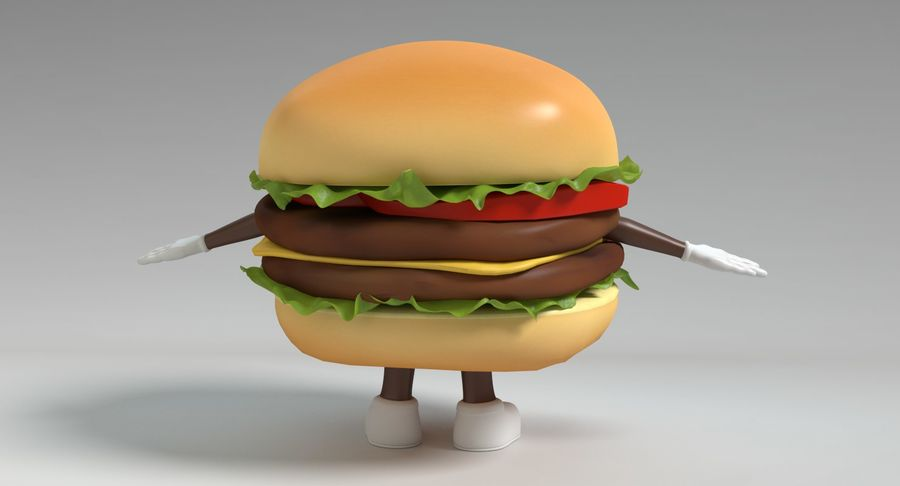 Hamburger Karaktär royalty-free 3d model - Preview no. 6