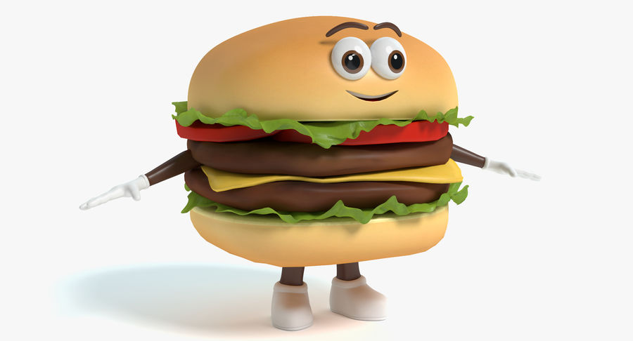 Hamburger Karaktär royalty-free 3d model - Preview no. 2