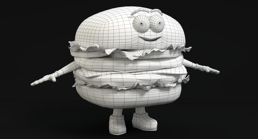 Caráter de hambúrguer royalty-free 3d model - Preview no. 12