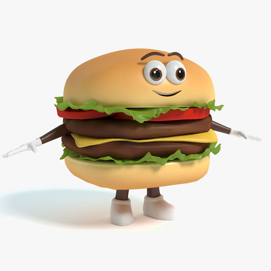 Hamburger Karaktär royalty-free 3d model - Preview no. 1