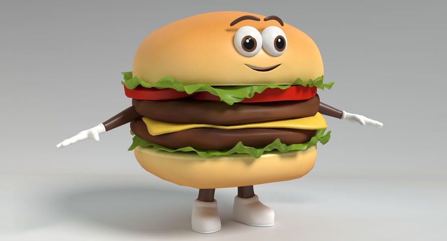Hamburger Karaktär royalty-free 3d model - Preview no. 3