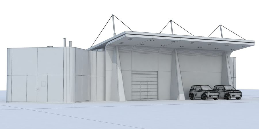 EV solar charging station royalty-free 3d model - Preview no. 8