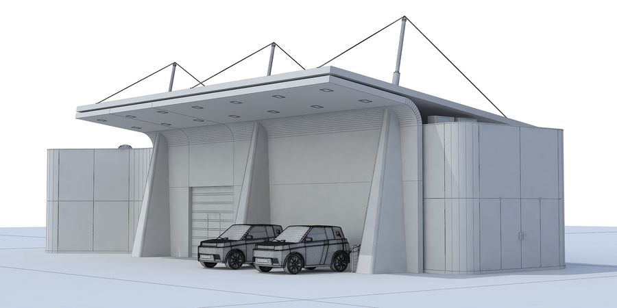 EV solar charging station royalty-free 3d model - Preview no. 7