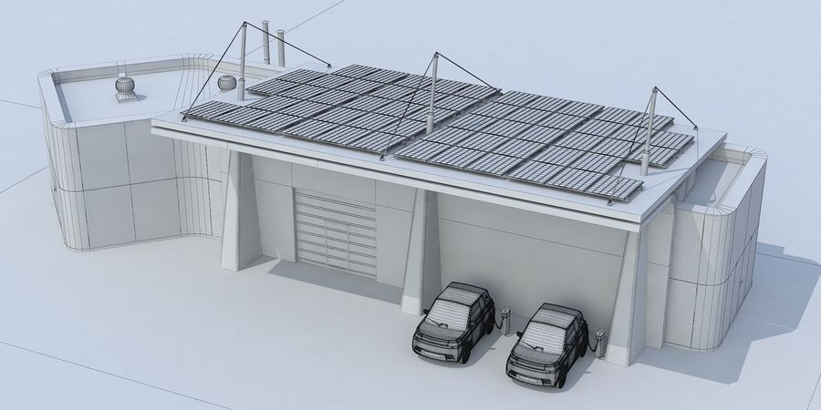 EV solar charging station royalty-free 3d model - Preview no. 9