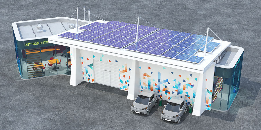 EV solar charging station royalty-free 3d model - Preview no. 3