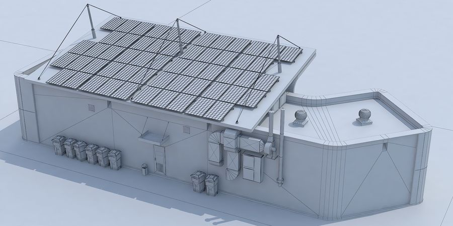 EV solar charging station royalty-free 3d model - Preview no. 12