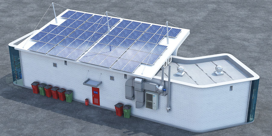 EV solar charging station royalty-free 3d model - Preview no. 6