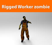 zombie worker low poly game ready 3d model