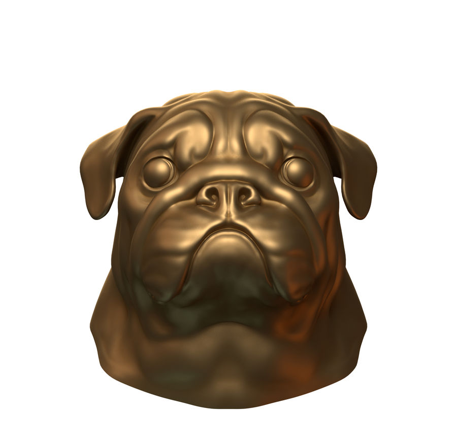 hoofd pug royalty-free 3d model - Preview no. 2