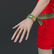 czerwona sukienka dziewczyna uzbrojona 3d model