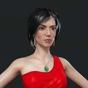 red dress girl rigged 3d model