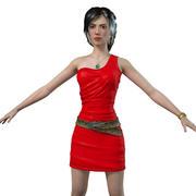 red dress girl rigged 3d model