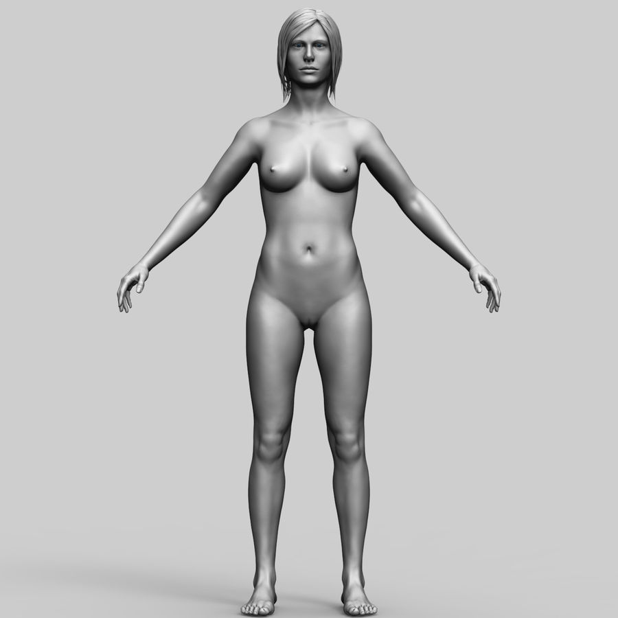 Basemesh Femme royalty-free 3d model - Preview no. 2