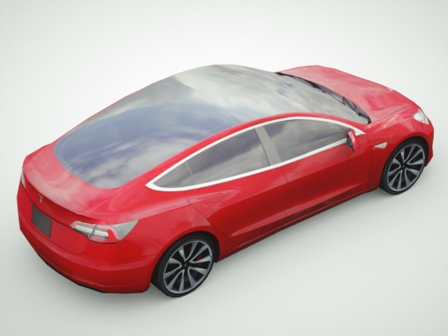 特斯拉模型3红色 royalty-free 3d model - Preview no. 4