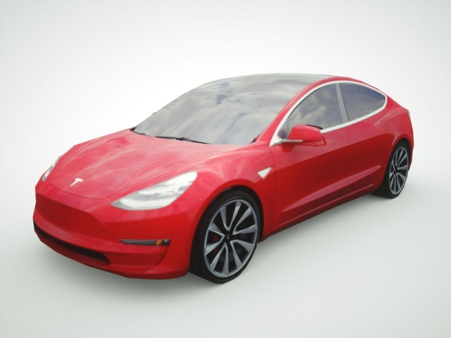 特斯拉模型3红色 royalty-free 3d model - Preview no. 1