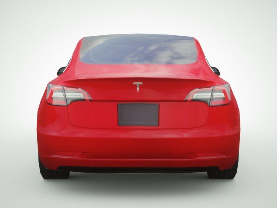 特斯拉模型3红色 royalty-free 3d model - Preview no. 5