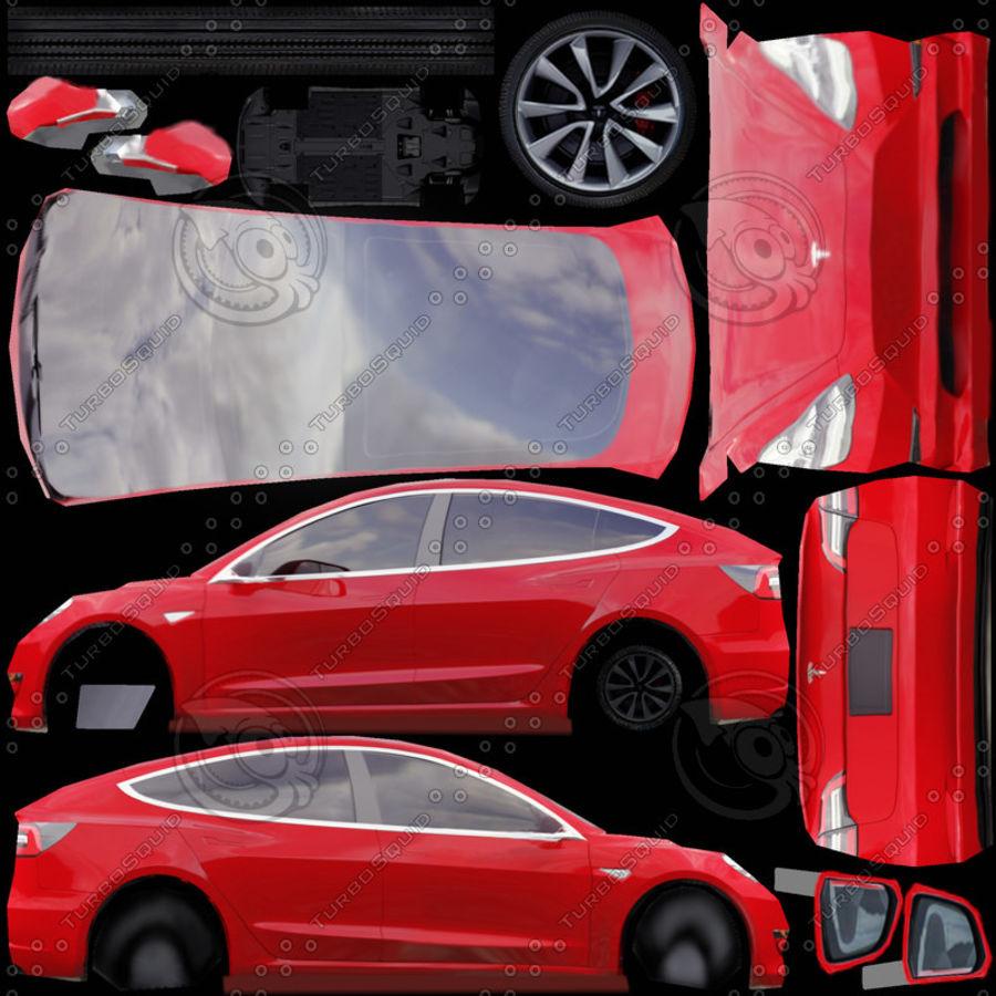 特斯拉模型3红色 royalty-free 3d model - Preview no. 9