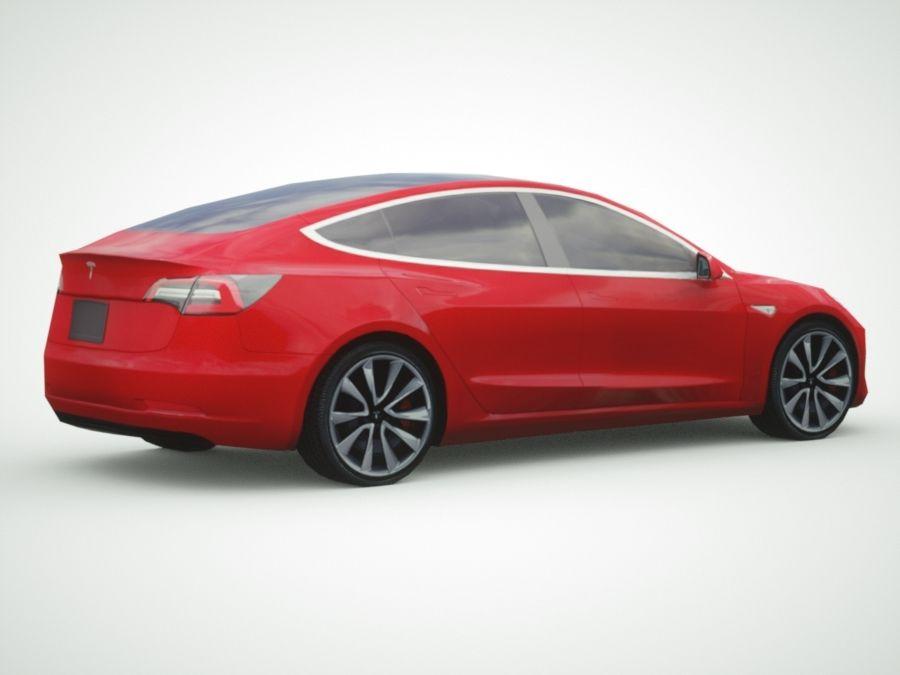 特斯拉模型3红色 royalty-free 3d model - Preview no. 8