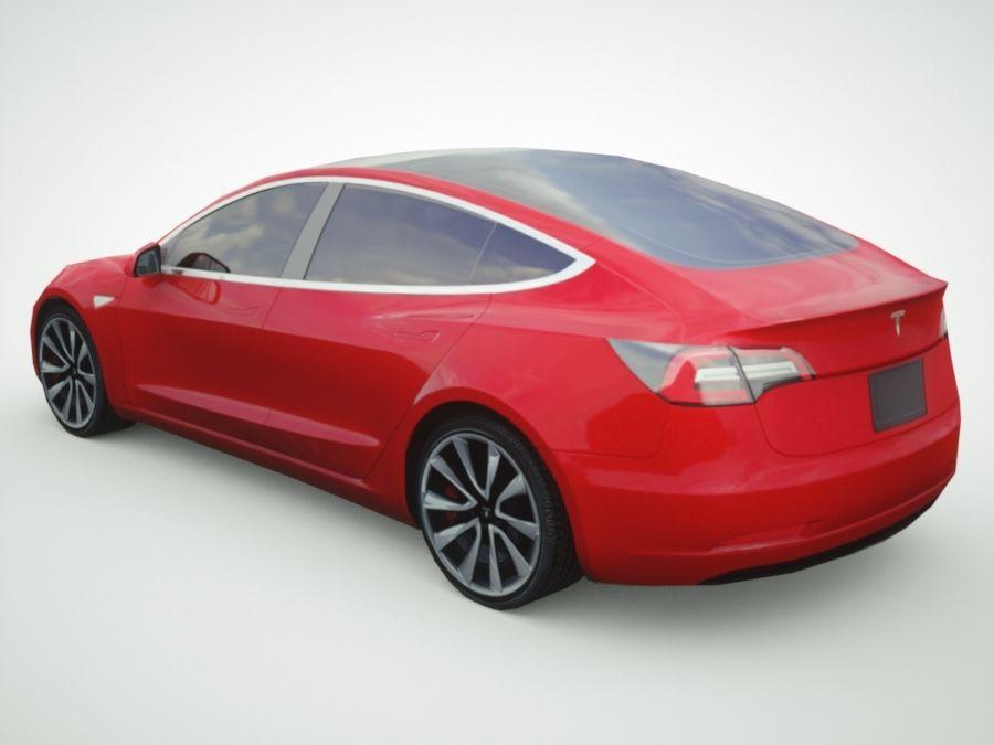 特斯拉模型3红色 royalty-free 3d model - Preview no. 2